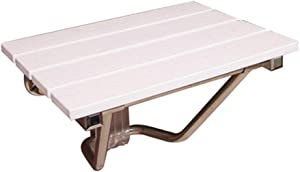 QQXX Foldable Shower/Bathroom Stool Wall Mounted Wooden Shower seat Stool Folding Wooden morphing Shoes Bench/Fixed Non Slip Heavy Duty Shower seat White Max 160 kg