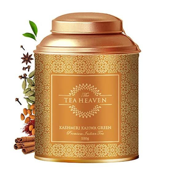 The Tea Heaven- Kashmiri Kahwa| 100 Grams | Tea Gift Pack-Blended with Saffron, Almonds, Spices -100 % Natural