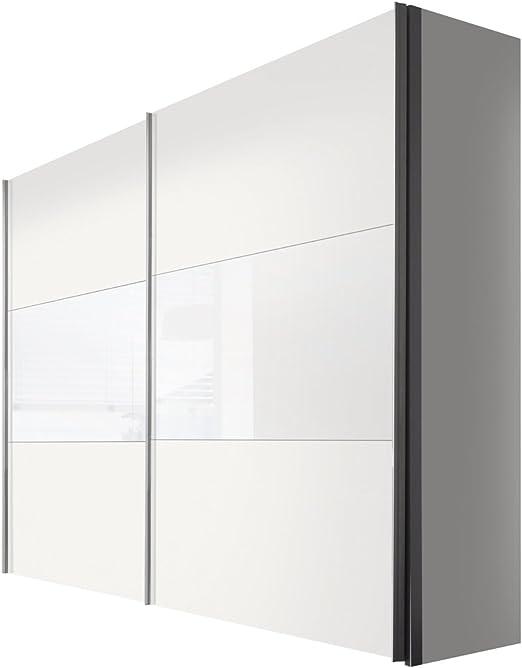 Solutions 46900 – 210 Armario de Puertas correderas (2 Puertas, Listones de Mango Aluminio Colores, Cuerpo/Frontal: Polar Blanco Cristal: Amazon.es: Hogar