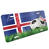 Metal License Plate Soccer Team Flag Iceland - Neonblond