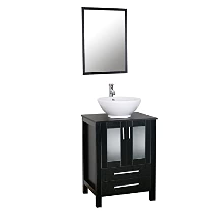24 Modern Bathroom Vanity With White Round Ceramic Sink Combo 15