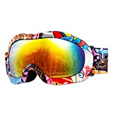 #4: Ski Goggles - Jet Vintage White Snowboarding Goggles for Mens Womens Girls Kids Youth Boys Skiing Snowboard Goggles including 1 Package by GIOHOS - 100% UV Protection Various Colors ( Anti - Fog )