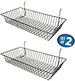 """Black Wire Baskets for Slatwall, Gridwall or Pegboard (Set of 2), Merchandiser Baskets, Perfect For Retailers or Home Use, Black Vinyl Coated Wire Baskets, 24"""" L x 12"""" D x 4"""" H, Shallow Baskets"""