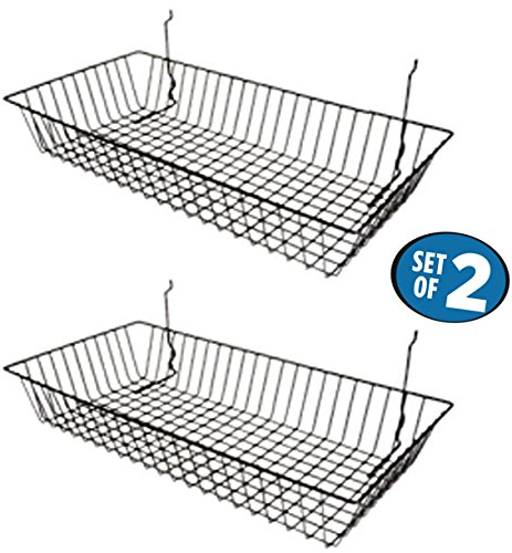 "Black Wire Baskets for Slatwall, Gridwall or Pegboard (Set of 2), Merchandiser Baskets, Perfect For Retailers or Home Use, Black Vinyl Coated Wire Baskets, 24"" L x 12"" D x 4"" H, Shallow (Peg Basket)"