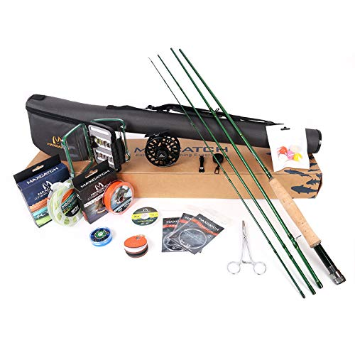 (M MAXIMUMCATCH Maxcatch Premier Fly Fishing Rod and Reel Combo Complete 9' Fishing Outfit (3 wt -9' Half-Handle Rod,3/4)