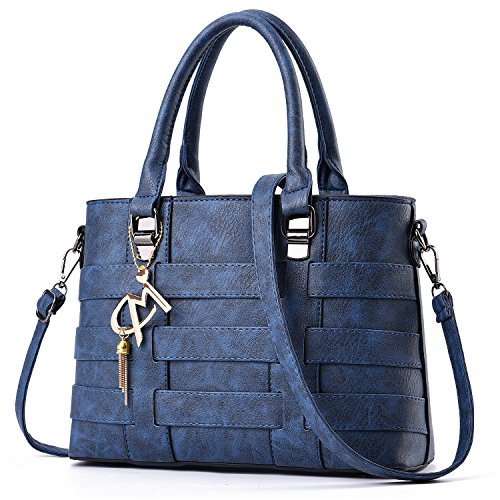 Tibes Large Capacity Handbag Travel purse Nice Decorations Bag Women Deep Blue