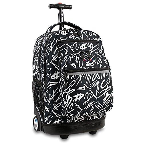 J World New York Sundance Laptop Rolling Backpack, Script, One Size