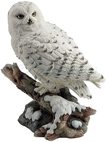 Snow Owl Perching Branch Figurine product image