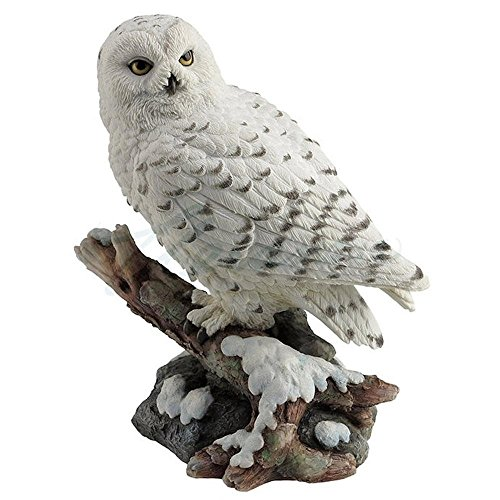 Owl Bird Figurine - Snow Owl Perching on Branch Figurine