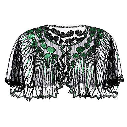 Lamosi Women's 1920s Shawl Beaded Sequin Deco Wedding Cape Evening Wrap Flapper Cover Up-Black+Green ()