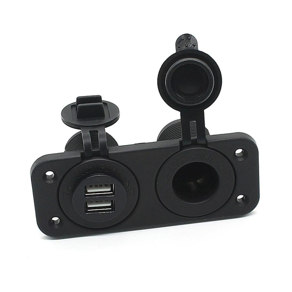 Usstore Dual USB Charger and Socket Panel Mount Marine 12 Volt Power Outlet Black by Usstore (Image #6)