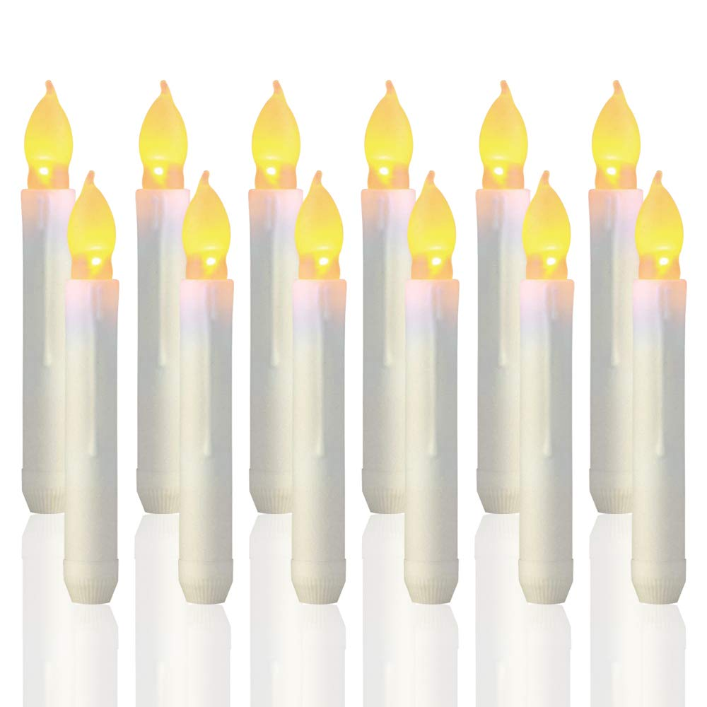 Trandpter 12PCS Flameless LED Taper Candle Lights, Battery Operated Harry Potter Floating Candles for Party, Classroom, Wedding, Christmas Decorations