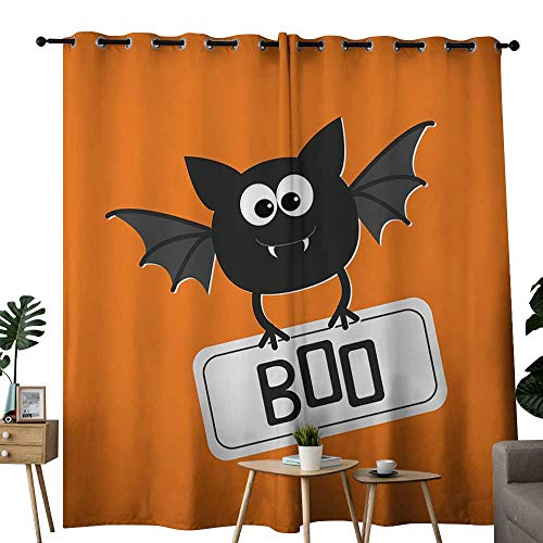 LewisColeridge backout Curtains for Bedroom Halloween,Cute Funny Bat with Plate Boo Fangs Scare Frighten Seasonal Cartoon Print,Orange Black White,Pocket Thermal Insulated Tie Up Curtain 84