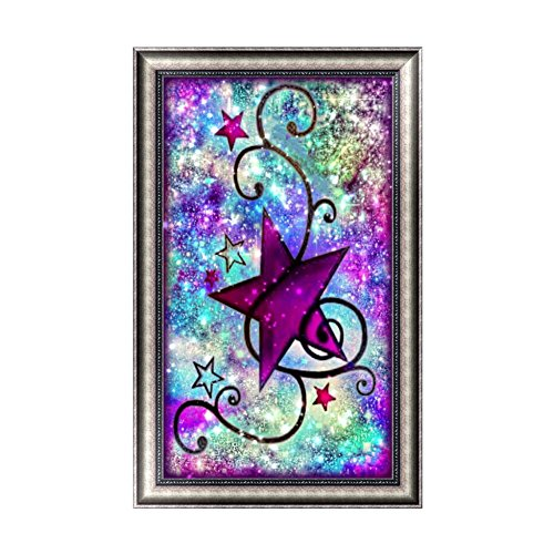 Xinhuaya 5D Diamond Painting Star DIY Drawing Paint by Number Kit Rhinestone Painting Handcraft Kit for Kids Room Wall Hanging (C4)