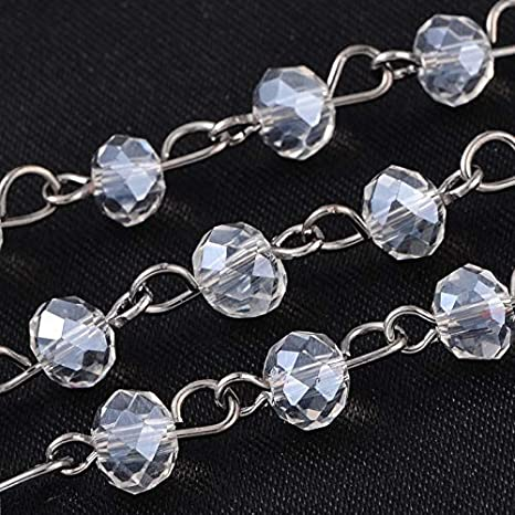 PH PandaHall 5 Strands 3.3 Feet Faceted Crystal Glass Beads Chain with Gunmetal Eye Pin for Necklaces Bracelets Jewelry Making