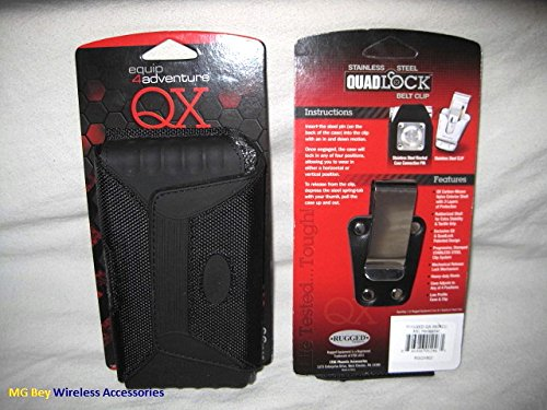 Rugged QX NXT Extended Tough Heavy Duty Horizontal Black Holster Pouch W/Detachable Quad Lock Steel Clip fit Samsung Galaxy J3/Sky/Amp/Express/Prime ballistic TJ Jacket Maxx Cover Case On Cellphone