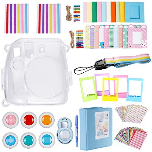 Neewer 10-in-1 Accessories Kit for Fujifilm Instax Mini 8/8+/9 Includes: Camera Case,Album,Selfie Lens,6 Colored Filter,5 Table Frame,20 Wall Hanging Frame,40 Border Sticker,2 Corner Sticker,Pen,Strap by Neewer