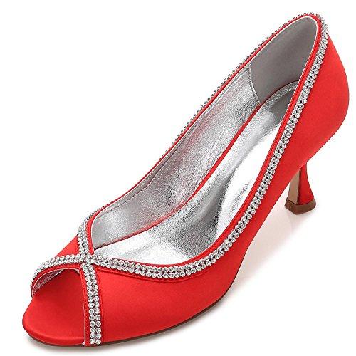 L de de Toe YC Boda de Encargo Prom de Summer Red Por Encaje Diamantes Las Zapatos Mujeres Peep Costura IwIrqO8