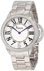 Freelook Women's HA9048M-4 All Silver Half Dial Swarovski Bezel Watch