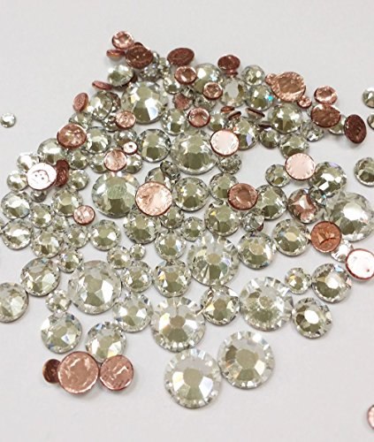 Mix Swarovski Hot Fix Crystals - HOTFIX Swarovski CRYSTAL CLEAR (001) 144 pieces 2058/2078 Crystal Flatbacks rhinestones mixed with Sizes ss6, ss10, ss12, ss16, ss20, ss30