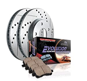 Power Stop K3161 Rear Ceramic Brake Pad and Cross Drilled/Slotted Combo Rotor One-Click Brake Kit