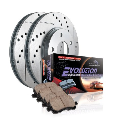 Power Stop K3100 Front Ceramic Brake Pad and Cross Drilled/Slotted Combo Rotor One-Click Brake Kit
