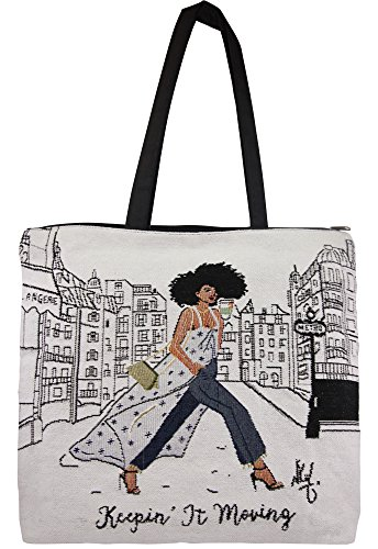 African American Expressions - Keepin' It Moving Woven Tote Bag (Cotton Blend, 17
