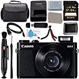 Canon PowerShot G9 X Digital Camera (Black) 0511C001 + NB-13L Lithium Ion Battery + Sony 64GB SDXC Card + Carrying Case + Memory Card Wallet + Card Reader + Micro HDMI Cable + Flexible Tripod Bundle