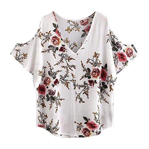 Summer Tops,AIMTOPPY Sexy V-neck ladies Deep Shoulder Hollow Short-sleeved Printed Shirt Tops (M, - Polo Lauren Ralph Email