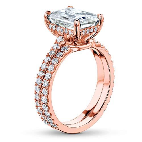 - 3-2/5ct.tw Radiant Moissanite Drop Halo Bridal Set, Rose Gold (FG/VS), 6.5