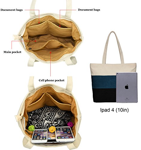 DCCN Canvas Shopper Bag Damen Handtasche Groß College Bag für Studenten 39*34*9cm Tpy1