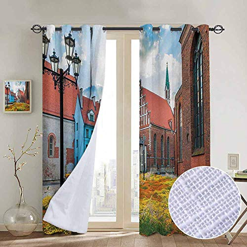 (NUOMANAN Pattern Curtains Victorian,Old City Riga Latvia Capital with Historical Buildings Medieval Town Image Print,Multicolor,Living Room and Bedroom Multicolor Printed Curtain Sets 120