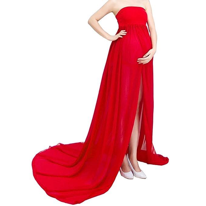 Jump Fox Vestido de Maternidad Vestido de Encaje de Gasa Prendas de fotografía Embarazada Disparo de