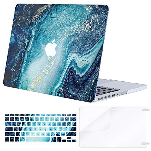 MOSISO Case Only Compatible with Older Version MacBook Pro 15 inch A1398 with Retina Display (2015 - end 2012 Release),Plastic Pattern Hard Shell&Keyboard Cover&Screen Protector, Creative Wave Marble