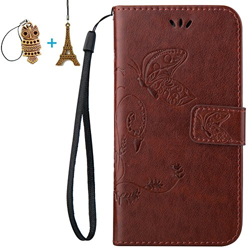 LG Ultimate 2 L41C / Optimus L70 Case, Mr.Dakai [Dark Brown] Magnetic Closure PU Leather Flower Butterfly Embossed Wallet Case Folio Flip Stand Case with Strap for LG Ultimate 2 L41C / Optimus L70 (Optimus Lg Case Brown L70)