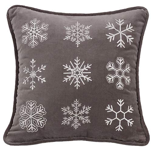 - HiEnd Accents Whistler Snowflake Pillow, Gray