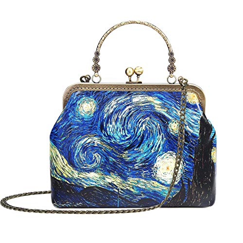 Rejolly Women Leather Vintage Handbag Kiss Lock Top Handle Evening Clutch Purse Crossbody Shoulder Bag Van Gogh The Starry Night