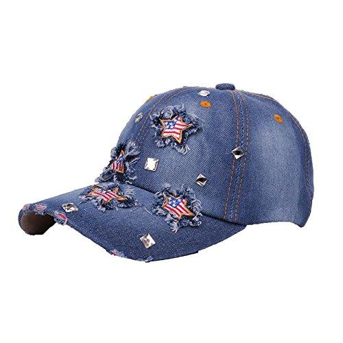 iYBUIA Cotton Women Men Adjustable Bling American Flag Rhinestone Denim Baseball Cap Hat