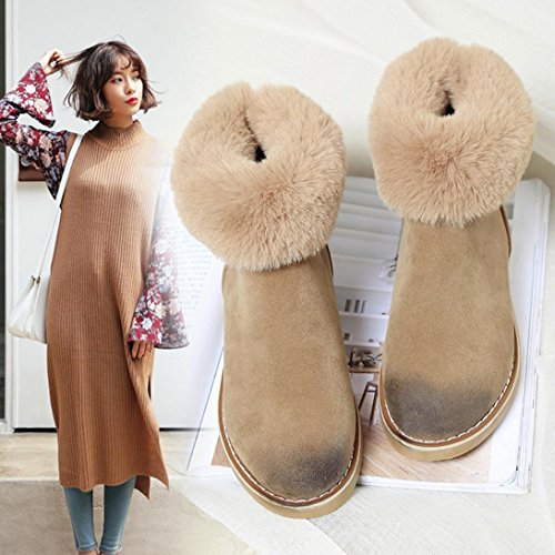 LuckyBB Fashion Women Winter Boots Warm Plush Snow Boots Zips Ankle Shoes Kakhi z3EEhKsnyo