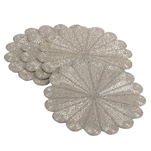 Season Placemat (4 Piece Silver Flowers Design Placemats Set, Beautiful Bohemian Floral Pattern Place Mats, Features Easy Clean, Glass Beading Technique, Spot Clean, For All Seasons, Round Shape, Lead Crystal Material)