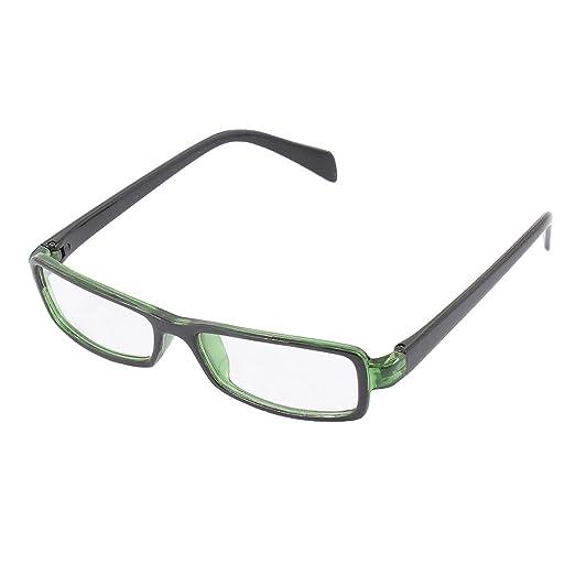 1538fe379729 uxcell Plastic Full Rectangle Frame Lens Plain Eyeglasses Fashion Glasses  Green Black