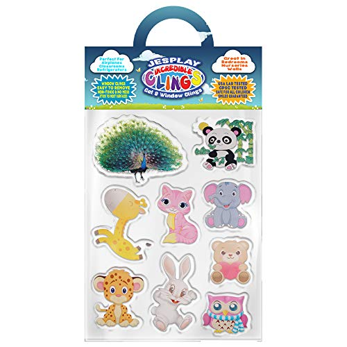Cuddly Baby Animals Thick Gel Clings Incredible Removable Window Clings for Kids, Toddlers - Kitty, Teddy Bear, Bunny, Giraffe, Panda - Incredible Gel Decals for Glass, Walls, Planes, Classrooms