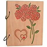 Small Photo Album 4x6 Holds 120 Prints Carved Roses Design Wooden Photo Album Book