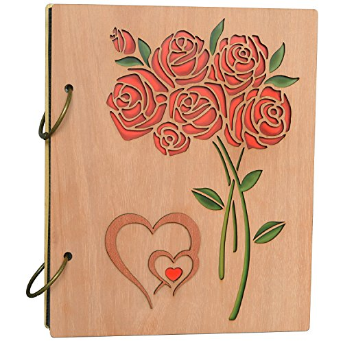 Flower Photo Album (Cossyhome Double Heart Roses Photo Album 4x6 Photo Book Albums Hold 120 Pictures 4 by 6 inch)
