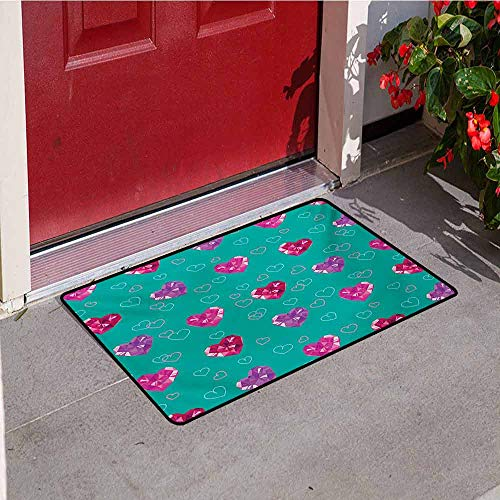 Jinguizi Teal Commercial Grade Entrance mat Crystal Hearts Gemstone Figures Love Valentines Day Celebrating Romantic Print for entrances garages patios W19.7 x L31.5 Inch Red Fuchsia Teal ()