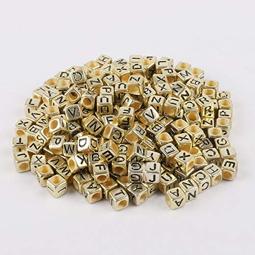 Calvas Hot! 100Pcs/Lot 6mm Mixed Many Kinds Acrylic Cube Square Number&Alphabet Letter Beads for Bracelet Necklace Jewelry Making DIY - (Color: Antique Gold) ()