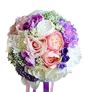 Moleya 9 Inch Handmade Vintage Artificial Silk Roses Wedding Bouquet for Bridal Bridesmaid Holding Flower,Pink 72