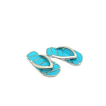 Sunyuey 1 Pair Mini Cute Stripe Flip Flops Diy Miniature Toy For