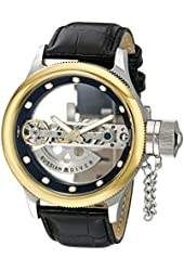 Invicta 14213 Russian Diver Automatic Skeleton Bridge Black Leather Watch