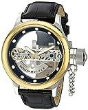 Invicta 14213 Russian Diver Automatic Skeleton Bridge Black Leather Watch